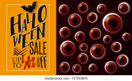 Eyes Halloween SALE banner. Spooky background. Vector illustration. Looking from darkness eyes. Business label
