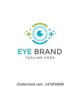 Eyes with Icons Health logo Vector. Health eye logo Template