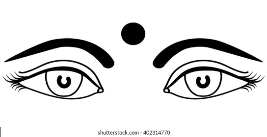 eyes Indian girls with bindi outline isolated vector illustration