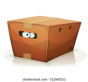 Eyes Inside Cardboard Box/ Illustration of a funny cartoon creature or animal's character eyes, confined and looking from behind the handle of a cardboard box