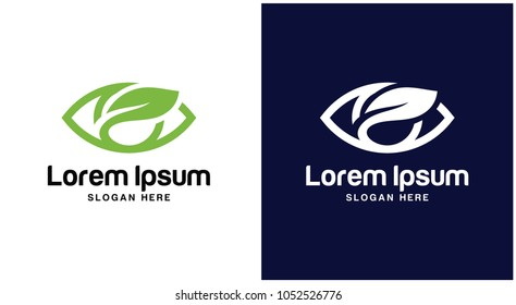 Eyes with Leaves logo Design Template.