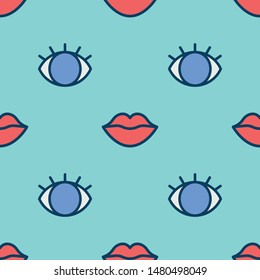 Eyes and lips seamless pattern. Vector Illustration
