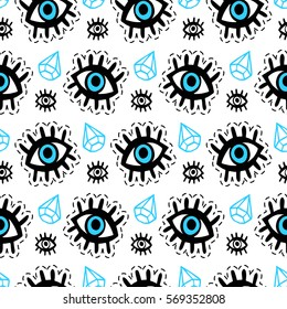Eyes patches seamless pattern. Trendy pop art 90s style. Fashion textile background