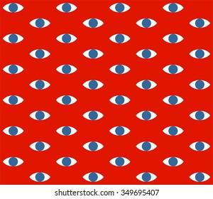 Eyes pattern on red background vector illustration
