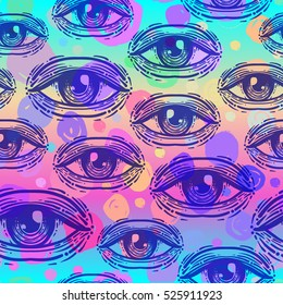 Eyes, seamless pattern over colorful dotted retro 80s, 90s abstract background. Vintage psychedelic textile, fabric, wrapping, wallpaper. Vector illustration. Astrology, religion. Conspiracy theory