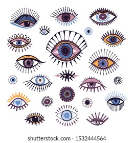 Eyes set hand drawn, doodle symbol colorful icons, design element, ink drawn eye. Abstract isolated vector illustration on white background.