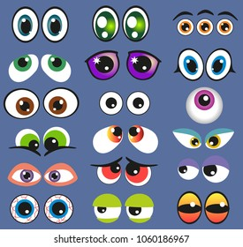 Eyes Set vector illustration. Funny comic monster eyes isolated. Angry and scared, cunning and plaintive