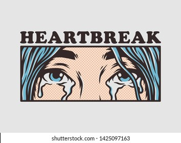 Eyes shedding tears of sad broken hearted single girl crying for loneliness pop art style comic book panel vector wall decoration design illustration