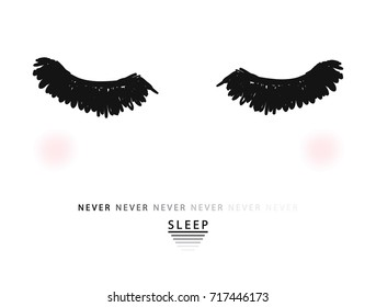 Eyes and slogan print in vector. For t-shirt or other uses.
