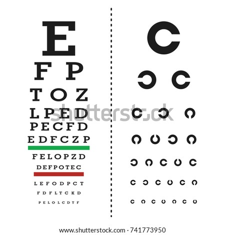 Eyes Test Chart Latin Letters Stock Vector Royalty Free 741773950