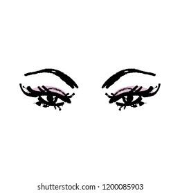 Eyes and yelashes logo. Stylized hand drawn art. Abstract black and white vector illustration