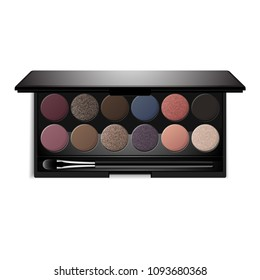 Eyeshadow palette. Vector realistic black plastic case with twelve powder matte, glitter paint sample in purple, pink, brown, vanilla colors and brush. Top view makeup box isolated on white background