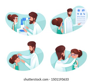 Eyesight diagnostics flat illustrations set. Optometrist checking kid eye sight with test chart. Girl cartoon character at ophthalmology hospital isolated cliparts pack. Optometry clinic visiting