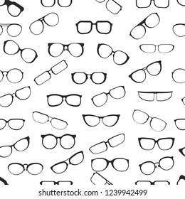 Eyesight glasses with various styles of plastic framing isolated cartoon flat vector seamless pattern