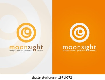 An eyesight in a moon shape. Show your visions and business success