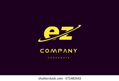 ez alphabet small letter combination purple yellow swoosh modern creative vector logo icon sign design template