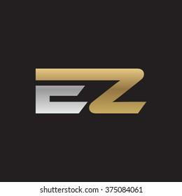 EZ company linked letter logo golden silver black background