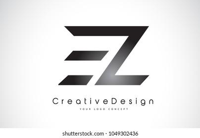 EZ E Z Letter Logo Design in Black Colors. Creative Modern Letters Vector Icon Logo Illustration.