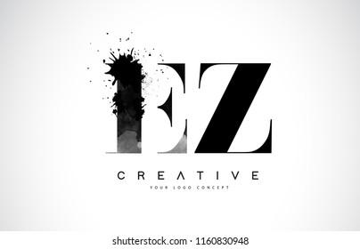 EZ E Z Letter Logo Design with Black Ink Watercolor Splash Spill Vector Illustration.
