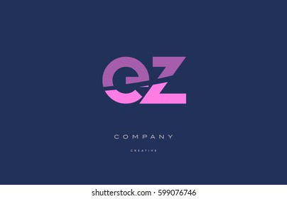 ez e z  pink blue pastel modern abstract alphabet company logo design vector icon template