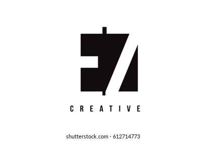 EZ E Z White Letter Logo Design with Black Square Vector Illustration Template.