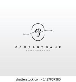 EZ handwriting initial logo template vector.