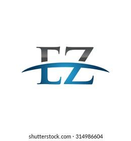 EZ initial company blue swoosh logo