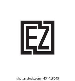 EZ initial letters looping linked square monogram logo