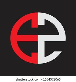 EZ Initial Logo design Monogram Isolated on black background