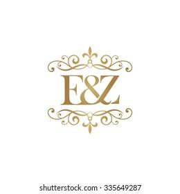 E&Z Initial logo. Ornament ampersand monogram golden logo