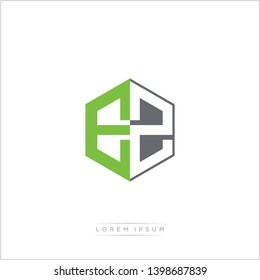 EZ Logo Initial Monogram Negative Space Design Template With Green and Grey Color - Vector EPS 10
