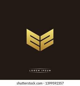 EZ Logo Letter Initial Logo Designs Templete with Gold and Black Background