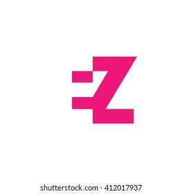 EZ Logo. Vector Graphic Branding Letter Element. White Background