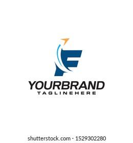 f arrow logo. letter F travel business logo template