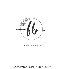 F B FB Initial handwriting or handwritten logo for identity. Logo with signature and hand drawn style.