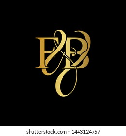 F & B / FB logo initial vector mark. Initial letter F&B FB luxury art vector mark logo, gold color on black background.