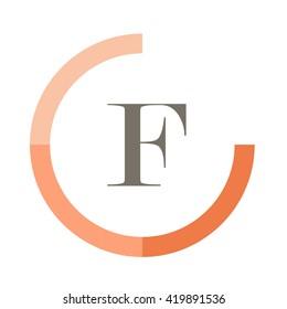 F black letter , modern type of font , tree orange colors , simply alphabet like design identity