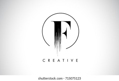F Brush Stroke Letter Logo Design. Black Paint Logo Leters Icon with Elegant Circle Vector Design.