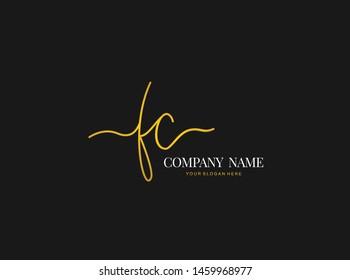 F C FC Initial handwriting logo design with circle. Beautyful design handwritten logo for fashion, team, wedding, luxury logo.