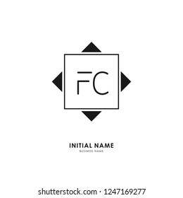 F C FC Initial logo letter with minimalist concept. Vector with scandinavian style logo.