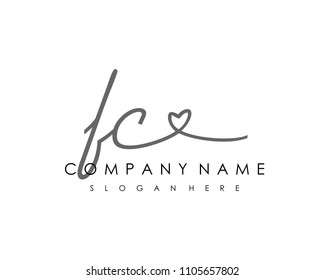 F C Initial handwriting logo vector