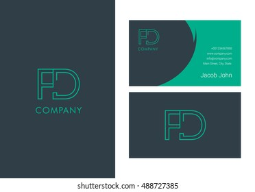 F & D Letter logo, with Business card