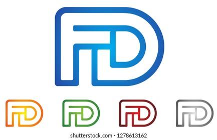 F D letter logo design in blue colors, alphabet icon logo, creative modern letters vector icon logo illustration