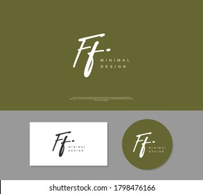 F FF Initial handwriting or handwritten logo for identity. Logo with signature and hand drawn style.