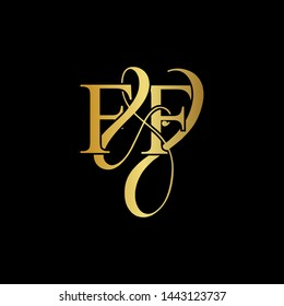 F & F / FF logo initial vector mark. Initial letter F&F FF luxury art vector mark logo, gold color on black background.