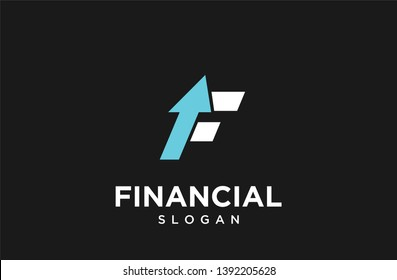 f for financial with arrow logo icon designs vector illustration