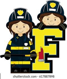 F is for Fireman Alphabet Learning Illustration