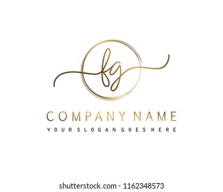 F G Initial handwriting logo vector