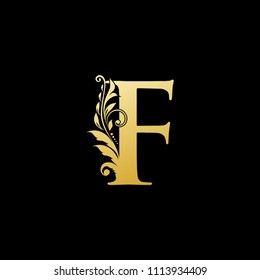 F Gold Letter Logo With Luxury Floral Design. Vintage drawn emblem for book design, brand name, business card, Restaurant, Boutique, Hotel. Vector illustration