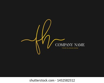 F H FH Beauty vector initial logo, handwriting logo of initial signature, wedding, fashion, jewerly, boutique, floral and botanical with creative template for any company or business.